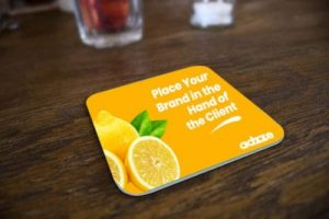 Advertising on bar coasters