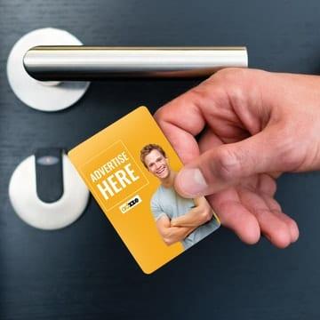 Hotel card key advertisement