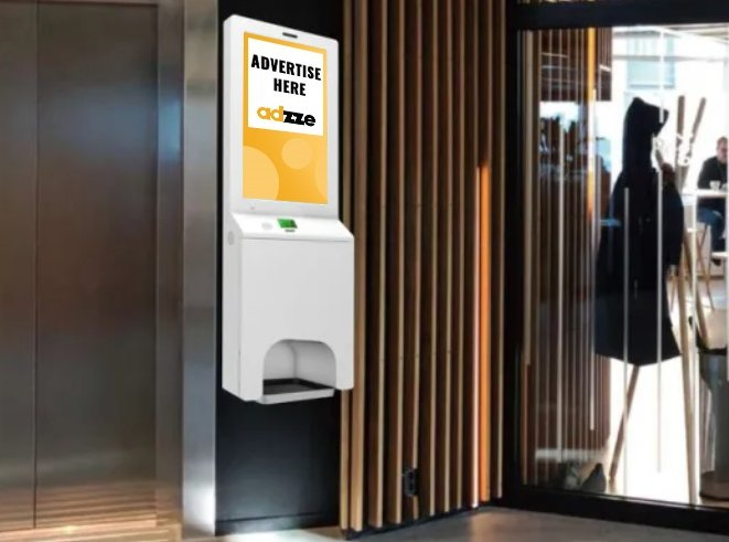 What is Indoor advertising with Sanitizing Kiosks