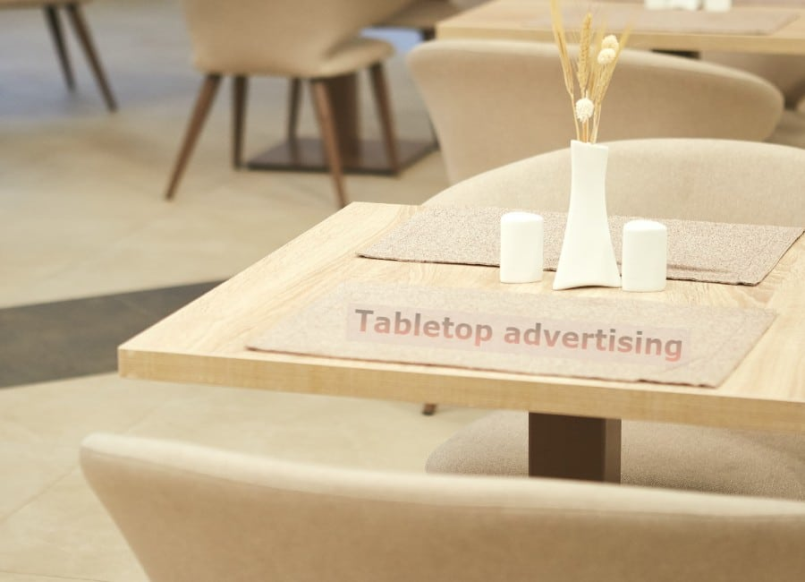 advertising on tabletops